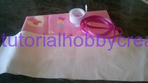 Tutorial per realizzare un sacchetto asilo con inserto in tela aida da ricamare a punto croce (2)