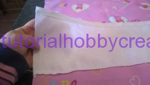 Tutorial per realizzare un sacchetto asilo con inserto in tela aida da ricamare a punto croce (5)